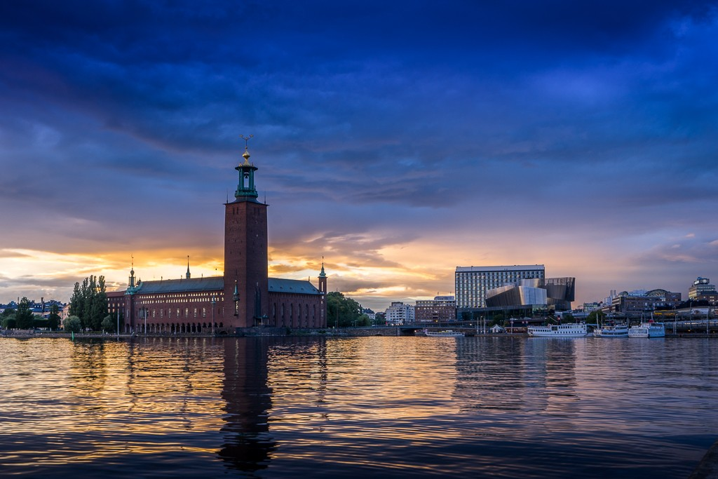 Stockholm Stadshus - the city hall, viewed from Riddarholmen at sunset - f/8 1/13sec ISO-100 35mm