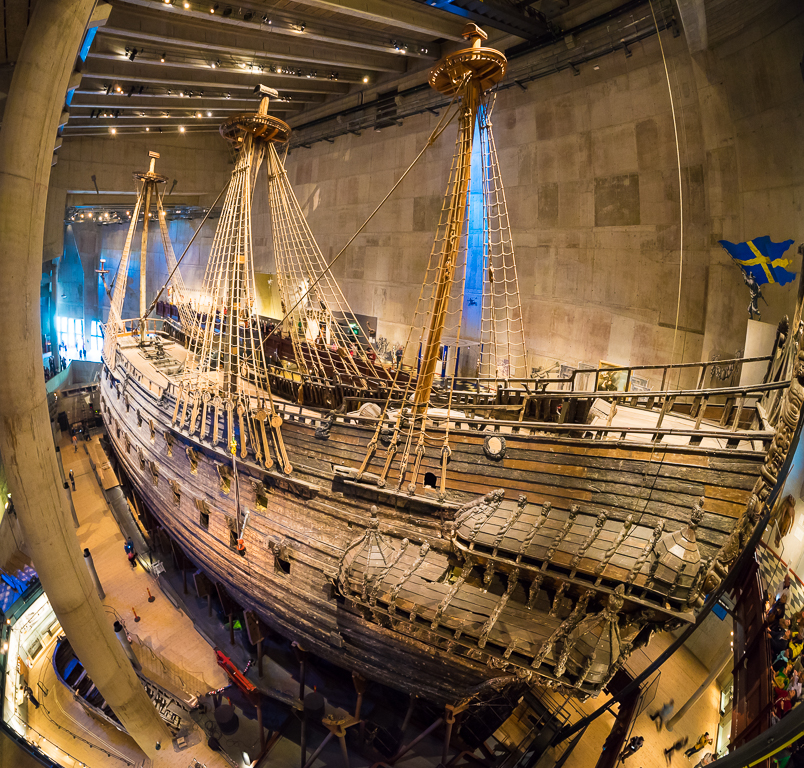 The Vasa, raised from Stockholm harbour after sinking on her maiden voyage in 1628