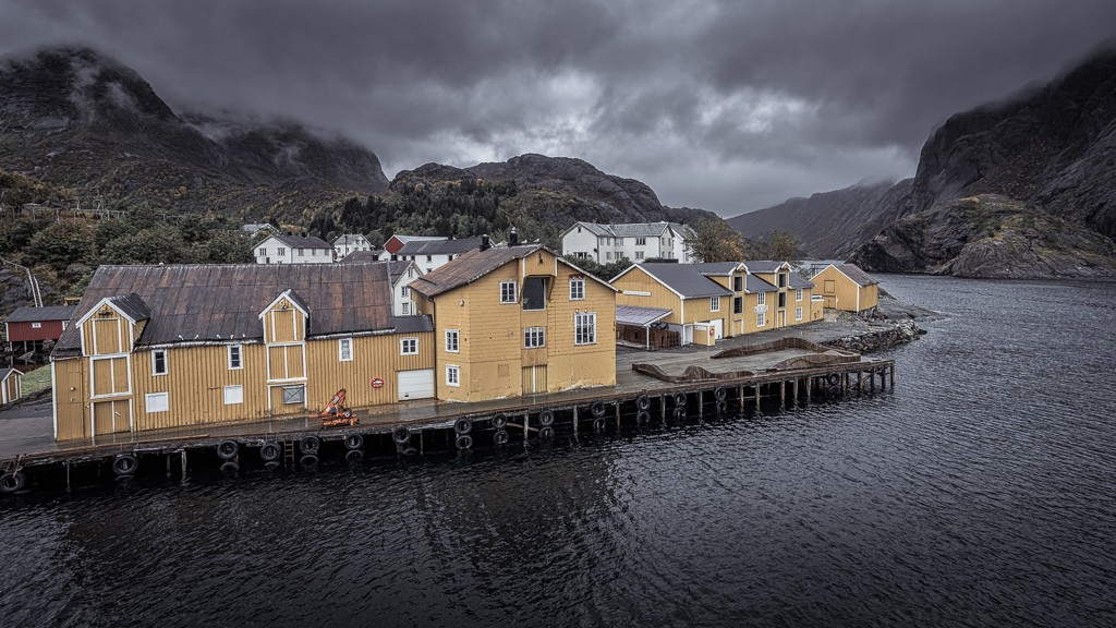 Yellow building on the waterfront at Nusfjord
