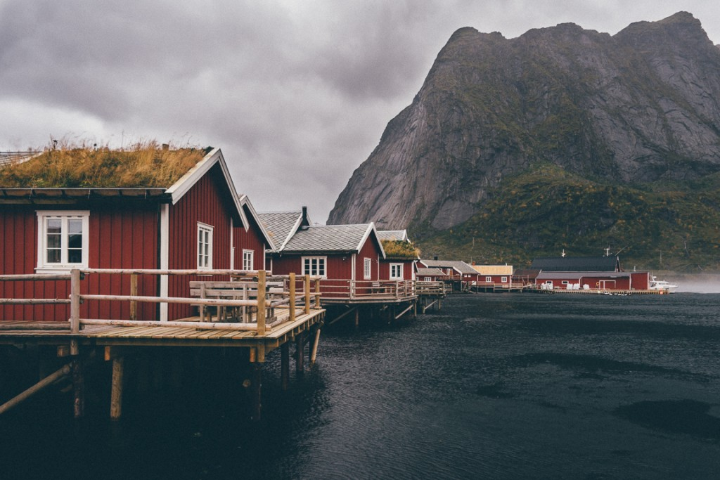Red cabins on the waterfront at Reine