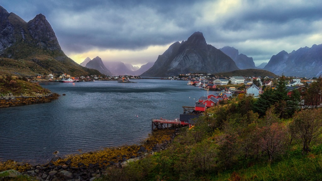 Village of Reine in Lofoten at sunset after a storm passed through