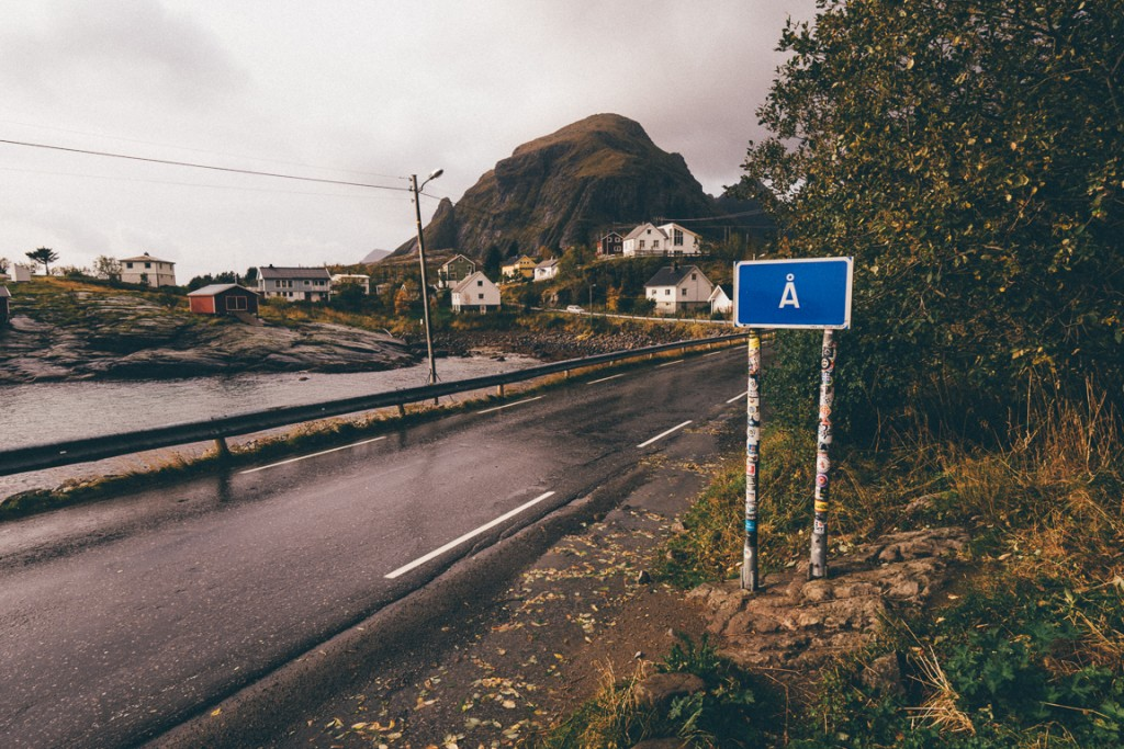 Village sign for Å, the furthest west you can go on the E10 highway