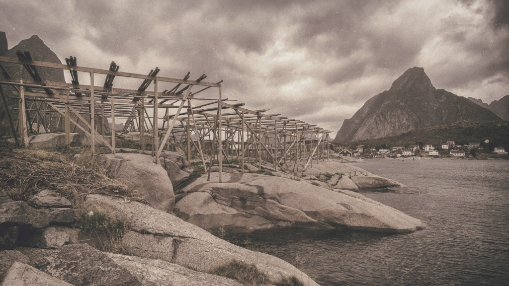 Racks used for drying fish in the winter/spring months at Reine, Lofoten