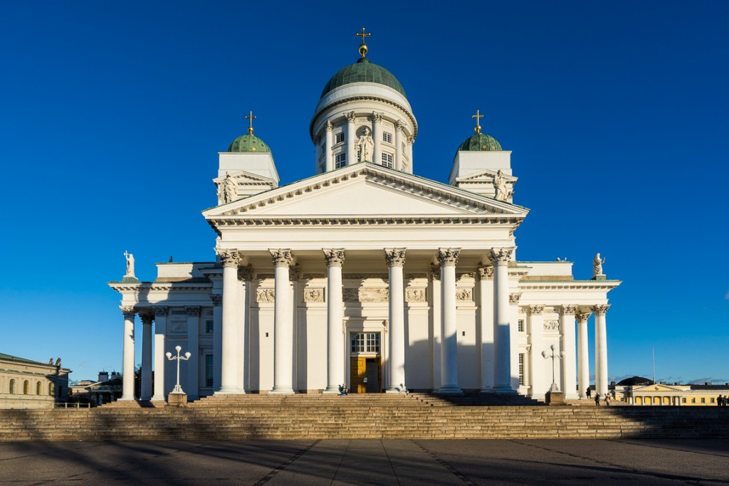 Western face of Helsinki Cathedral on a sunny afternoon