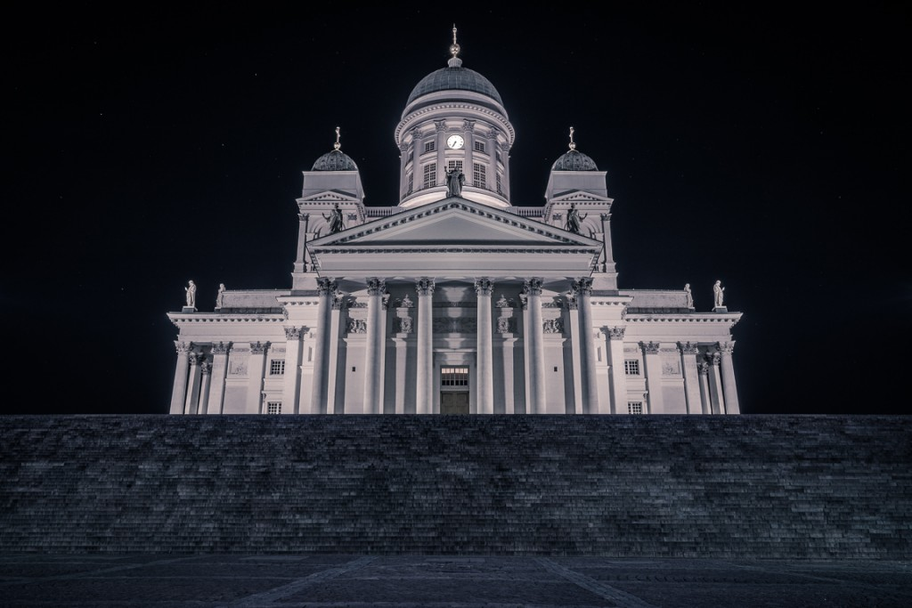 Night time view of Helsinki Cathedral's south side