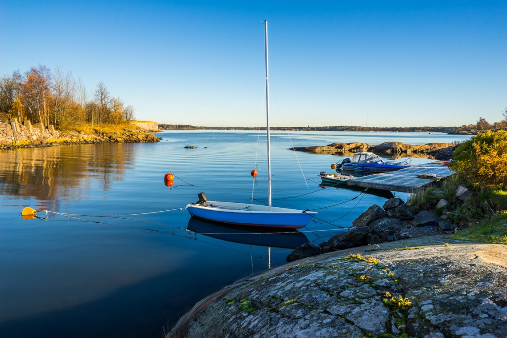 Small residential harbour at Suomenlinna