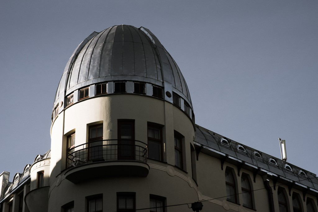 Domed roof on an apartment building
