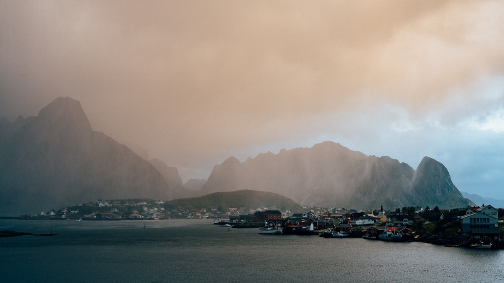 Departing the village of Reine with a stormy sunrise.