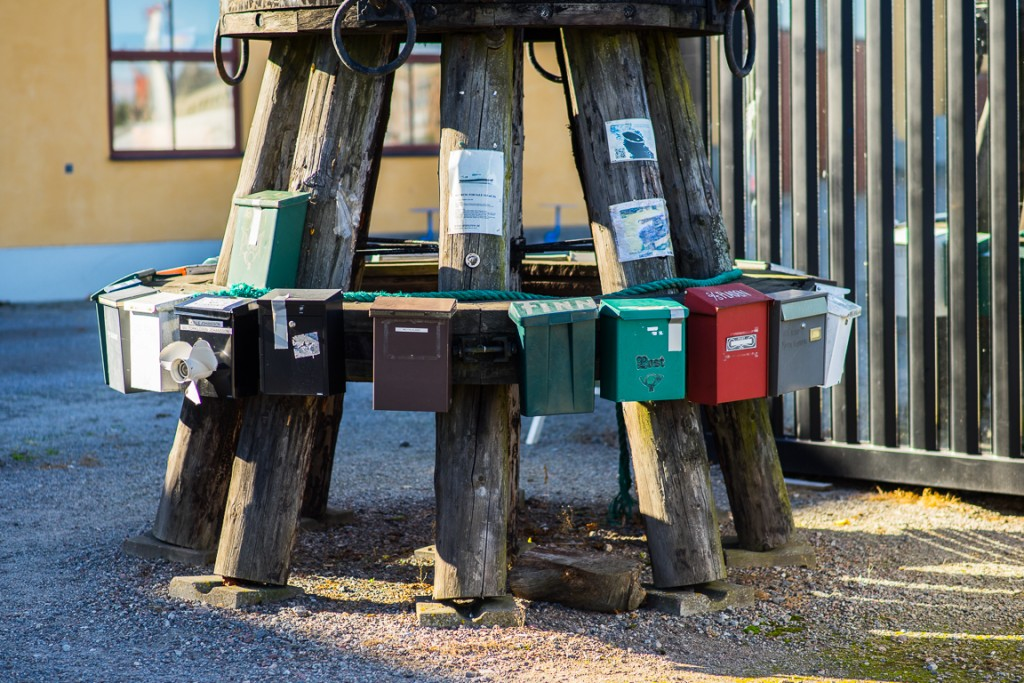 Mailboxes used by the boat owners at Skeppsholmen
