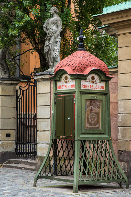 Old phone box on Gamla Stan island, Stockholm