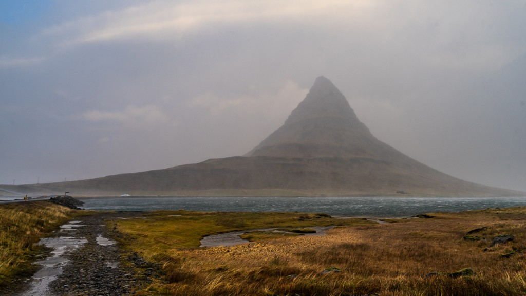 Kirkjufell mountain on a stormy morning