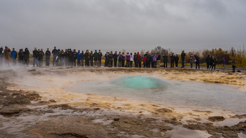 Moments before Strokkur erupts, the water bulges up into a large blue bubble