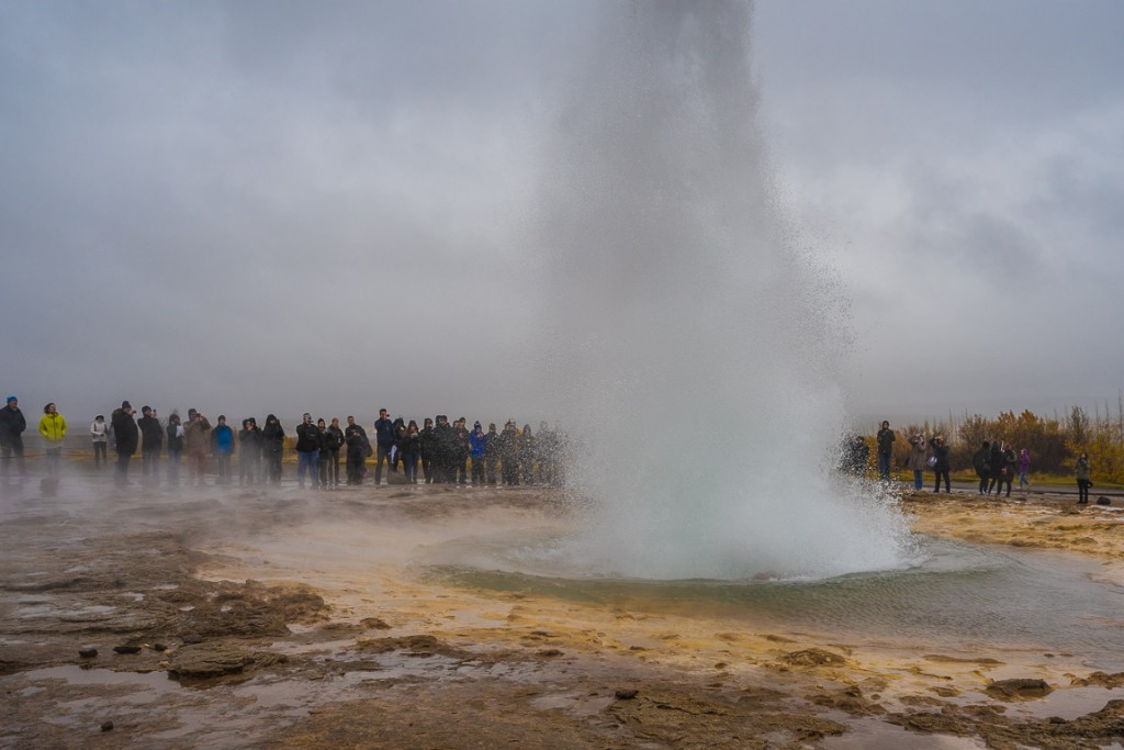 Strokkur erupting. It does this every few minutes, although the height varies a lot.