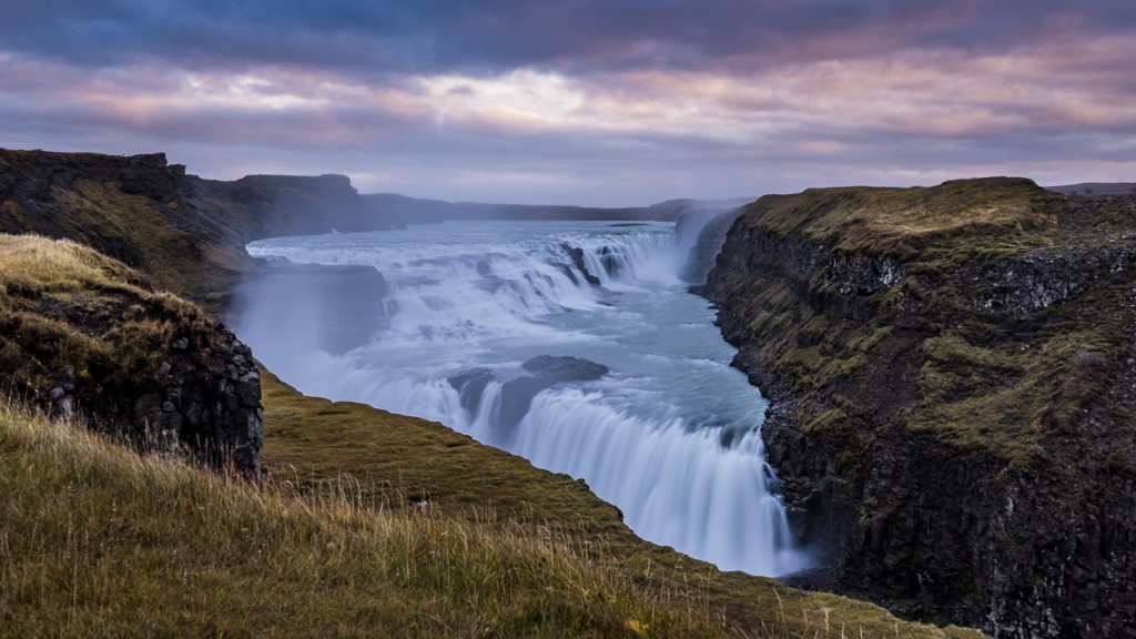 Early morning view of Gullfoss Waterfall