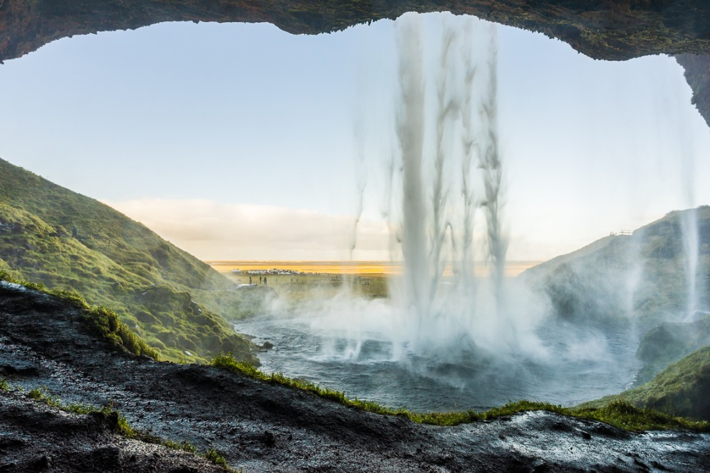Behind the Seljalandsfoss waterfall