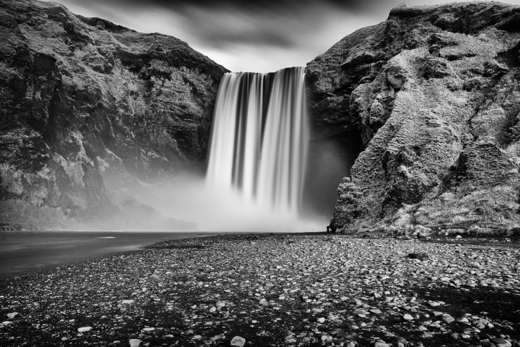 Skogafoss waterfall, long exposure black and white.
