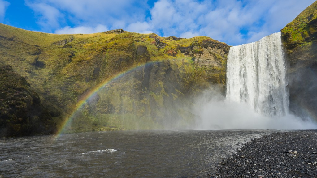 Rainbow over Skogafoss as the sun came out