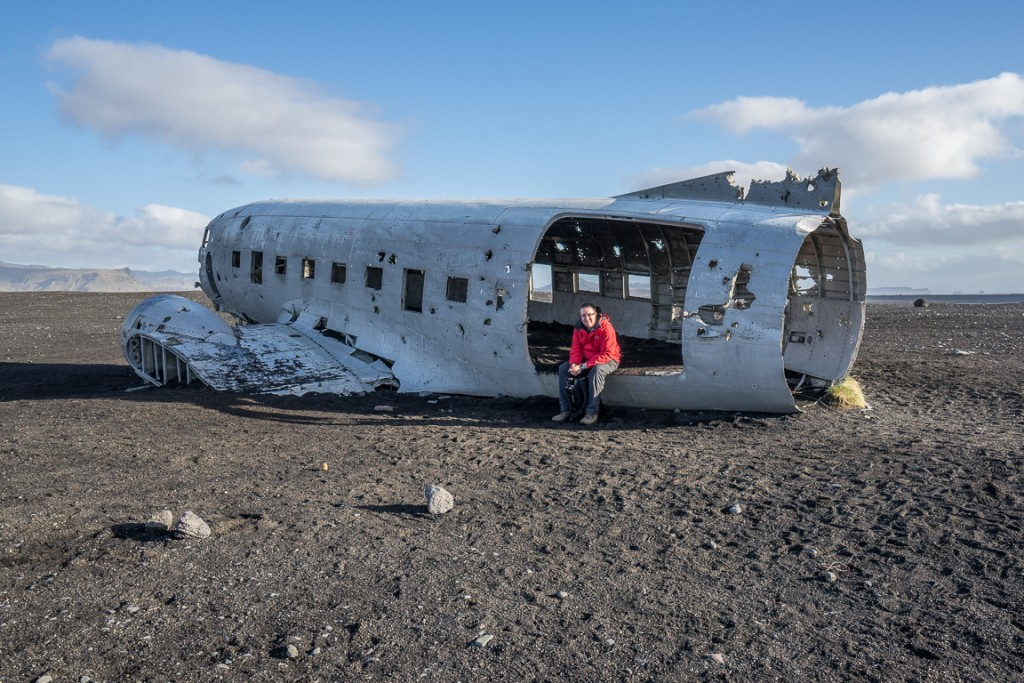 Me sitting at the rear door of the crashed DC-3