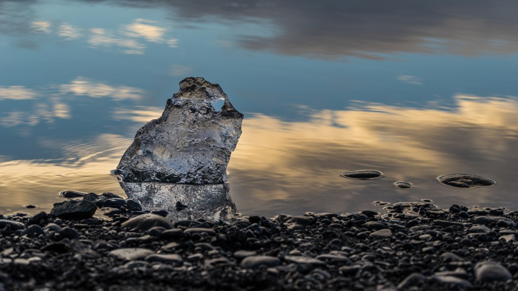 Small lump of ice on the shore of Jökulsárlón