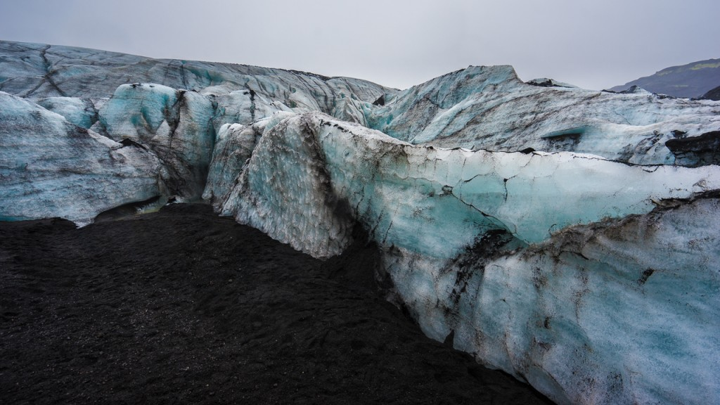 Sólheimajökull glacier, which comes down from the Mýrdalsjökull ice-cap