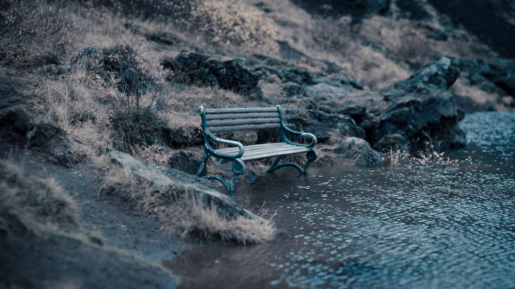 Bench at the edge of the lake, Kerio Crater.