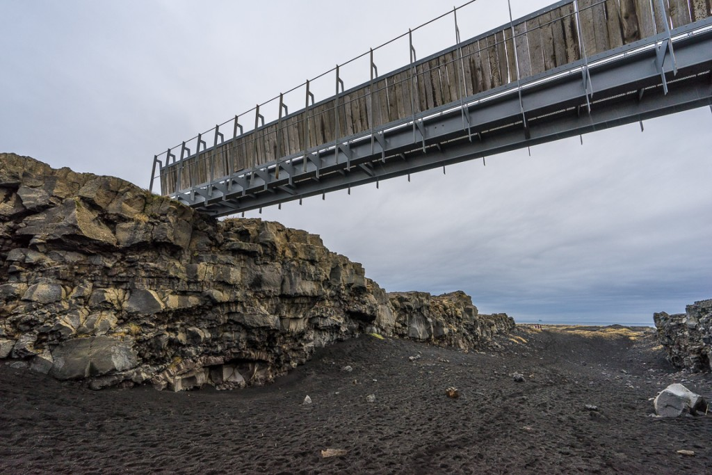 Bridge across the rift between the American and European plates