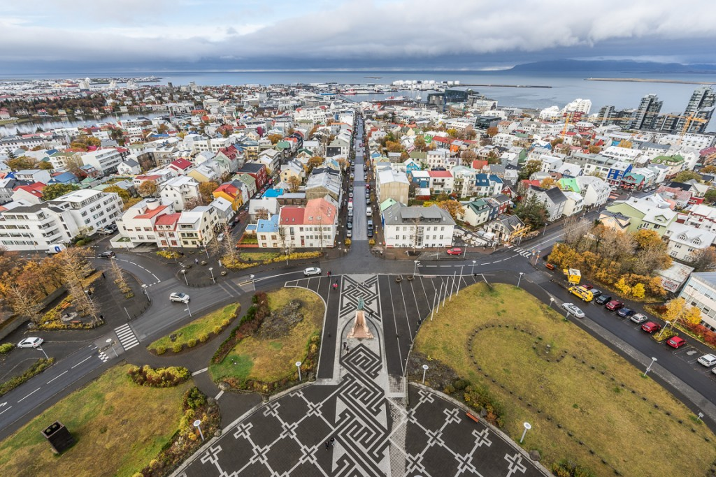 View north-west from the top of Hallgrimskirkja