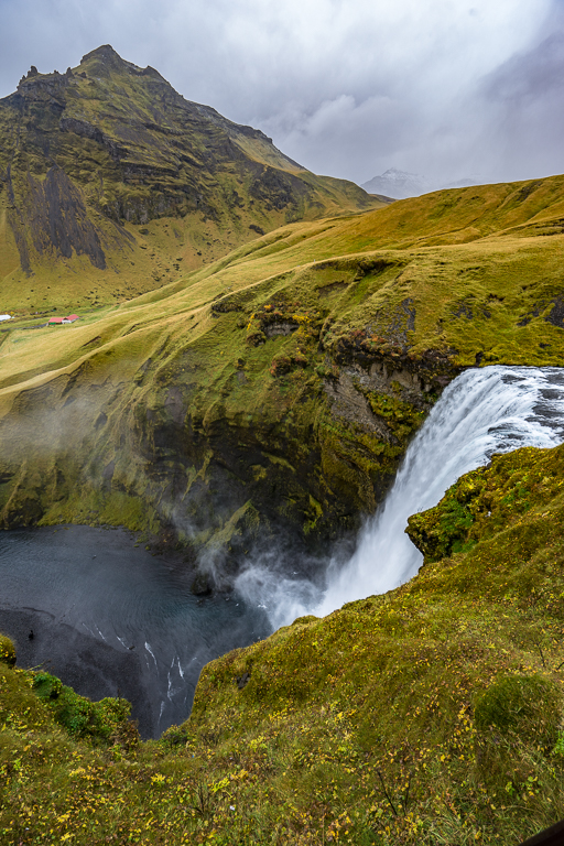 Skogafoss from the viewing platform above the waterfall.