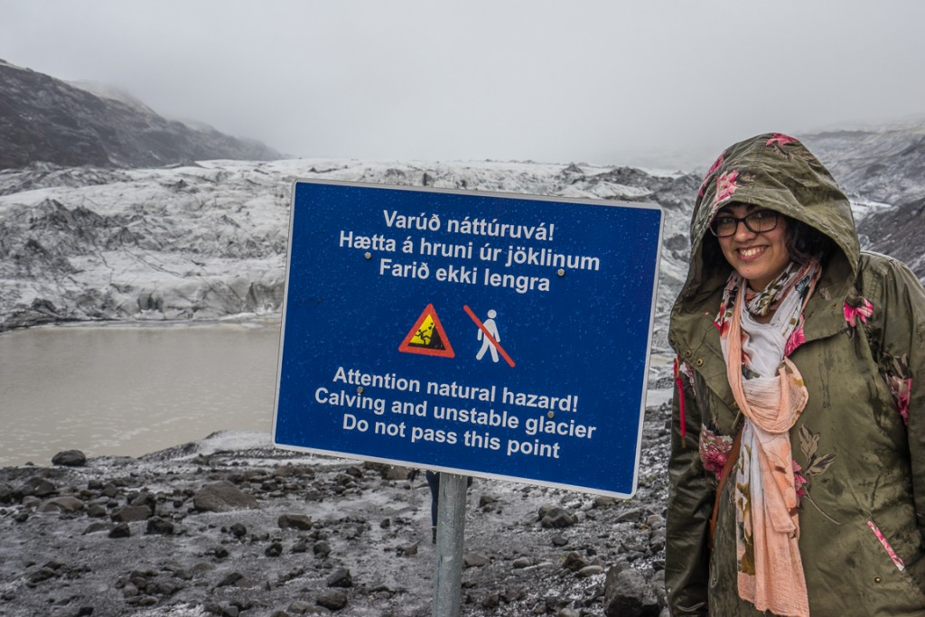 Sign warning to not approach the glacier