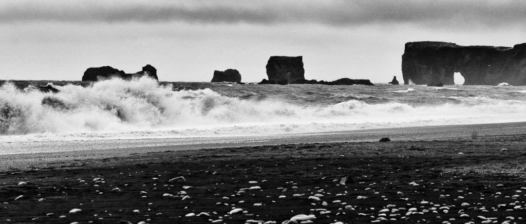 Rocks at Dyrholaey from Reynisfjara beach.