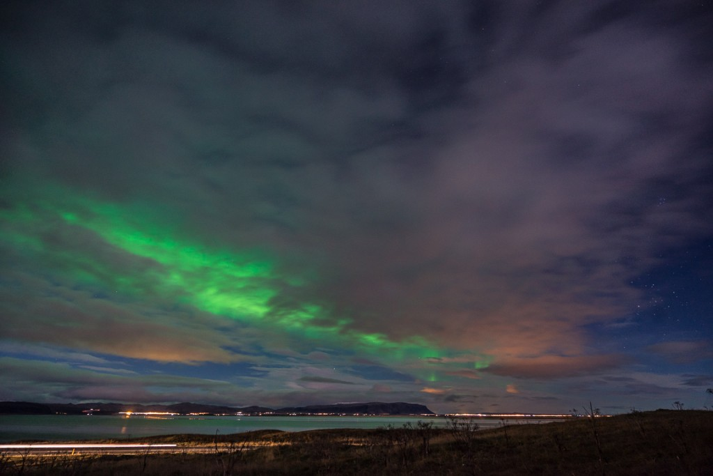 Northern lights from the south coast of Iceland