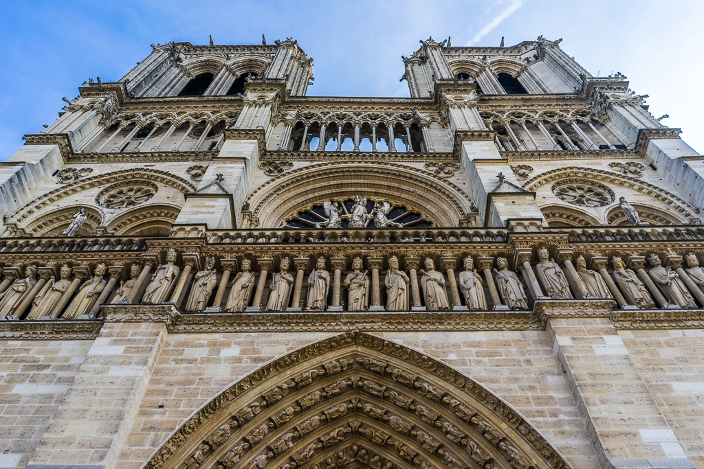 View of the western frontage of Notre Dame Cathedral, Paris