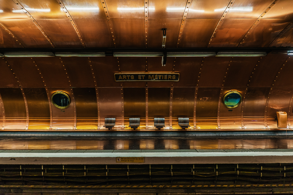 Platform and seating, Arts et Metiers metro station, Paris