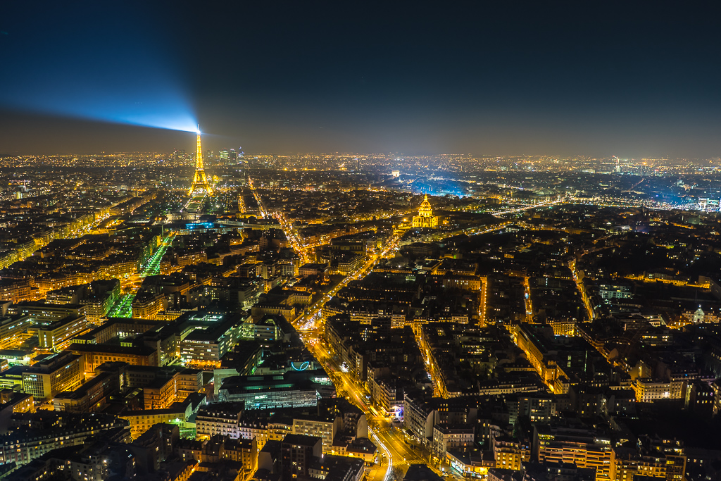 Night time view of Paris from the Tour Montparnasse
